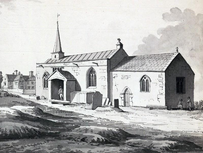 Samuel Hieronymus Grimm - Old Whittington church, Derbyshire (1785)