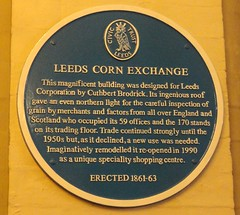 Photo of Cuthbert Brodrick and Corn Exchange, Leeds blue plaque