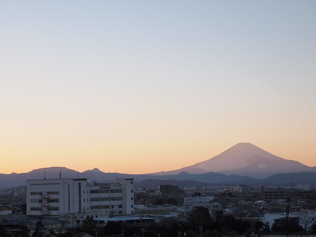 遠くから富士山