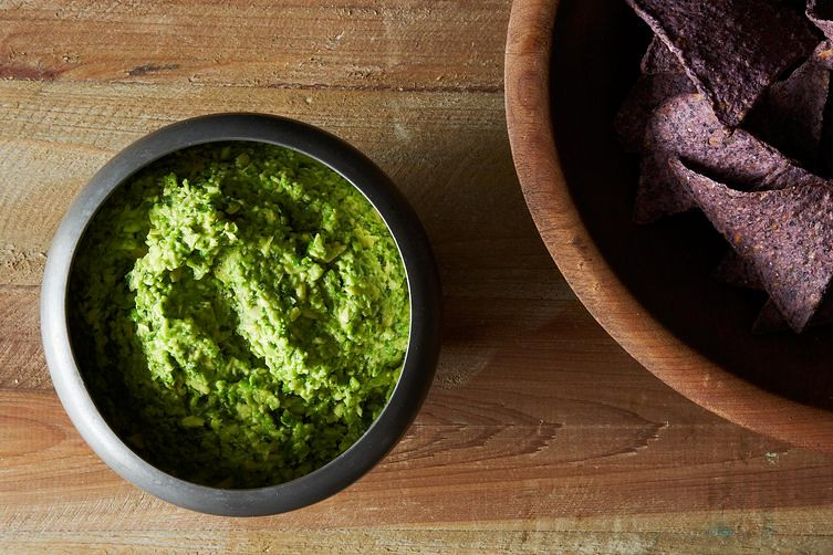Mashed Pea Guacamole with Cilantro, Ginger, and Lime