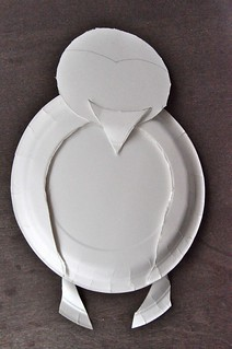 Paper plate penguin in progress