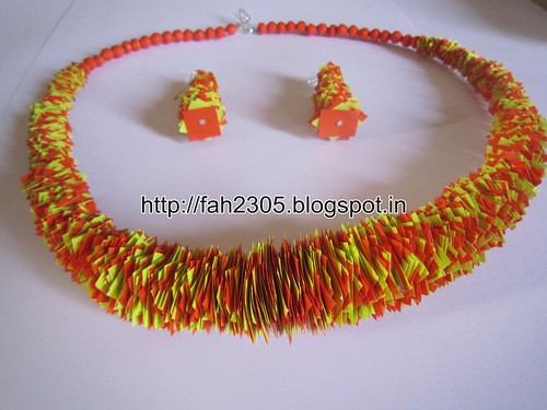 Handmade Jewelry -Scrape Paper Necklace and Earrings (1) by fah2305