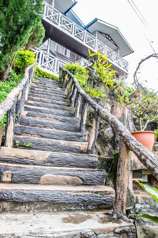Wooden stairs at Kinabalu Pine Resort, Kundasang