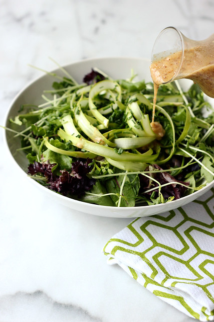 Spring Green Salad with Honey Dijon Almond Butter Dressing (Gluten-free and Dairy-free with Vegan Option)