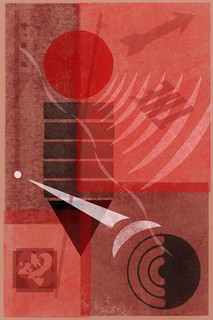 Abstract suprematist digital letterpress in red