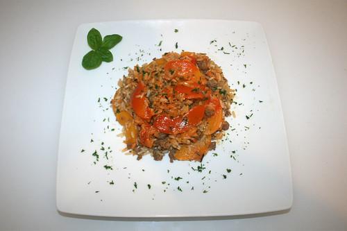 36 - Reisauflauf mit Pfirsichen & Hackfleisch - Serviert / Rice casserole with peaches & ground meat - Served