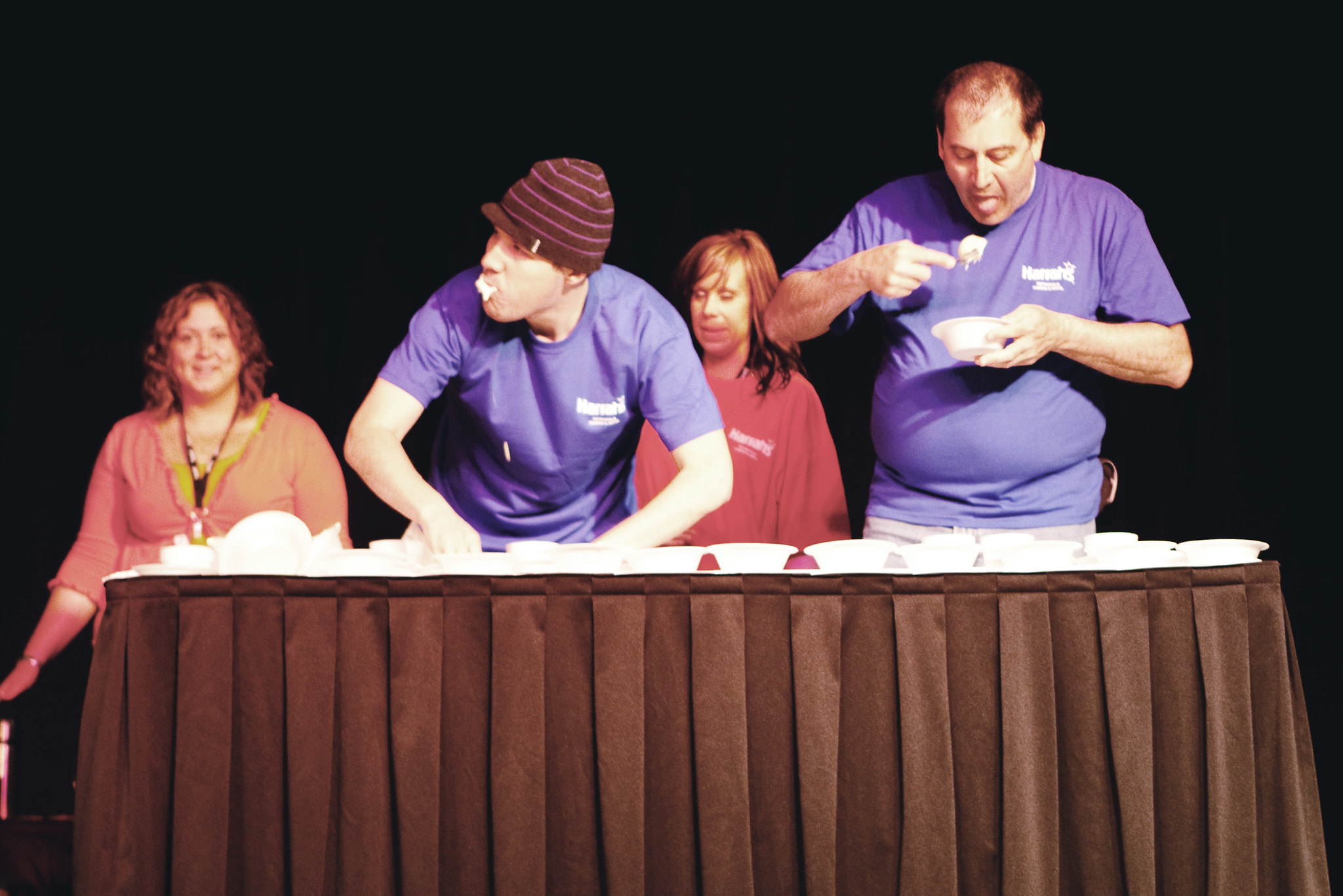 Nate Biller eats at the Ice Cream Eating Contest at Harrah's Casino in Metropolis, Illinois.