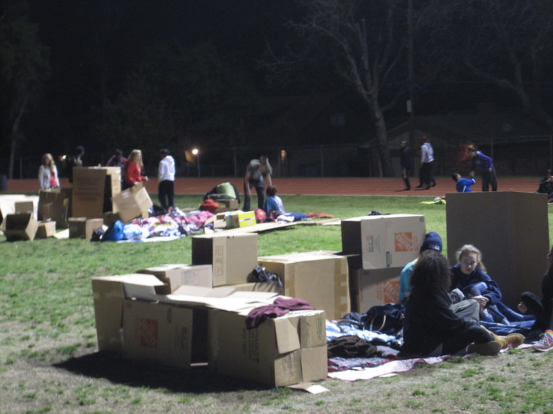 Students build their sleeping quarters for the evening