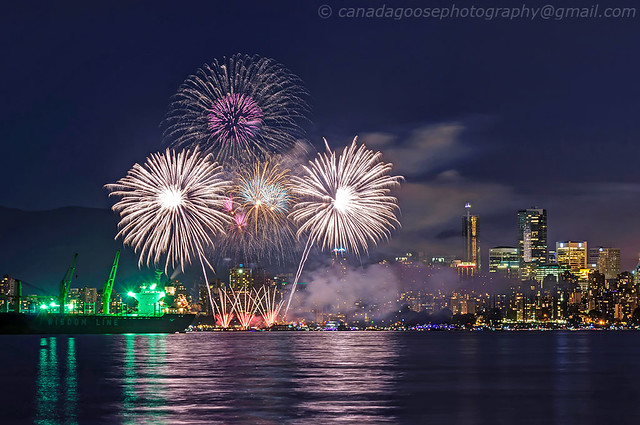 Fireworks with cityscape in the background