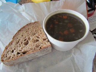 Black Bean soup and wholewheat bread from Soupremecy