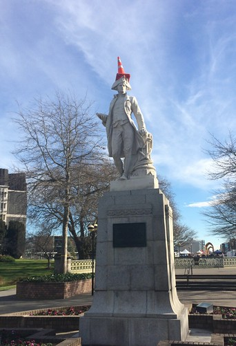 Captain Cook with traffic cone hat