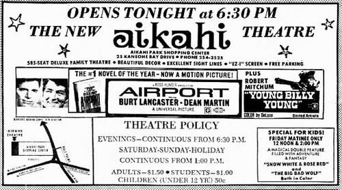 Honolulu, Hawaii movie theatre openings