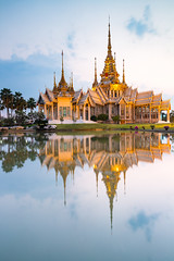 Beautiful Thai Temple (Wat Non Kum) and Reflection