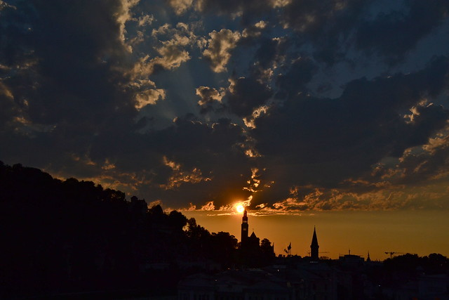 Sunset and clouds over Salzburg-Mülln