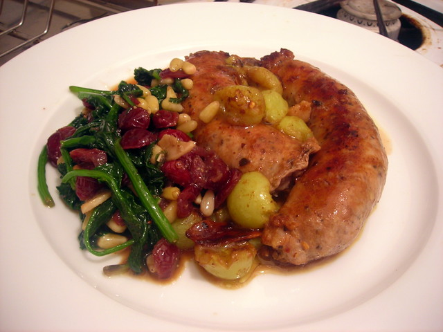 Italian sausage with green grapes, spinaci alla genovese