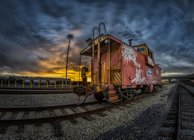 "Week 25 of 52 Theme: ""Cars"" Caboose Rail car at sunset - HDR"