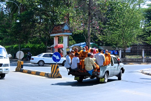 a truckload of Monks in Siem Reap