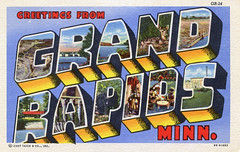 Greetings from Grand Rapids, Minnesota - Large Letter Postcard