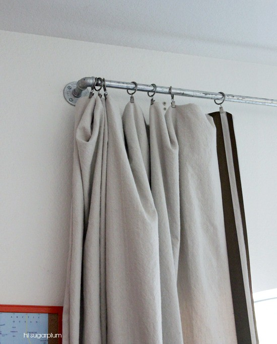 Hi Sugarplum | DIY Galvanized Pipe Curtain Rod