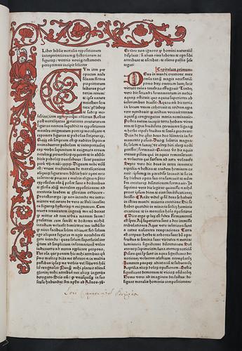 Woodcut border and provenance inscription in Berchorius, Petrus: Liber Bibliae moralis