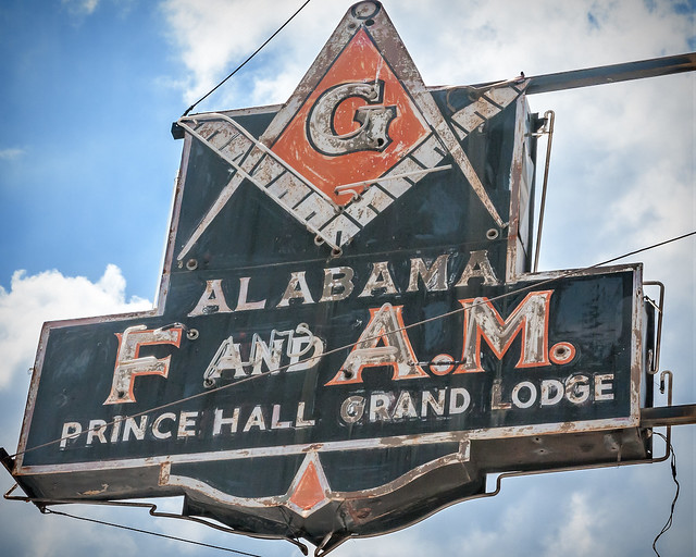 Prince Hall Grand Lodge sign, Masonic Temple Building (1922), 1630 4th Avenue N, Birmingham, AL, USA