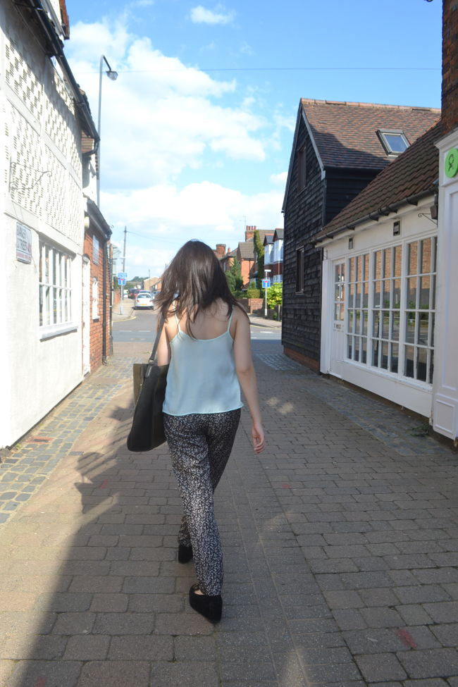 Daisybutter - UK Style and Fashion Blog: what i wore, uk fashion blogger, topshop camisole outfits, printed trousers, flatforms, ootd