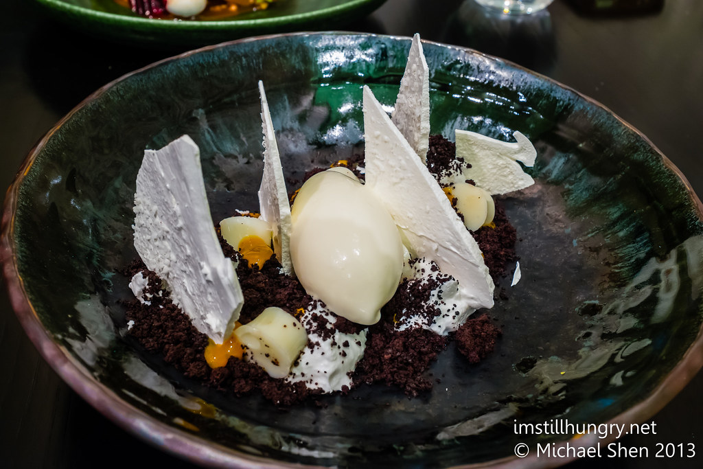 Hachiya persimmon, coconut yoghurt, salted goat milk sorbet, shichimi pepper, ganache chocolate crumbs, coconut meringue, rum & milk jelly Sepia