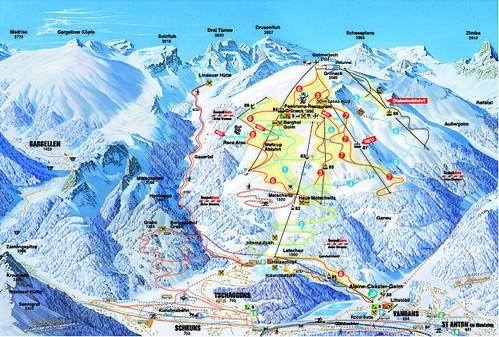 Golm - mapa sjezdovek