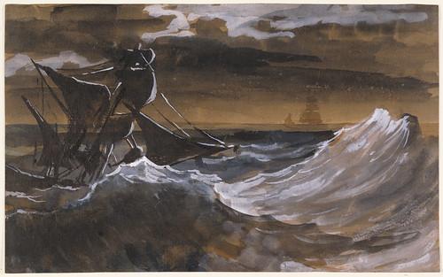海洋上的帆船,由法國浪漫主義畫派先驅Théodore Géricault所作。轉載自 J. Paul Getty Museum的開放館藏