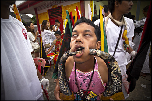 Pierced face at the Phuket vegetarian festival 2013