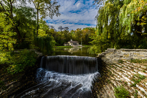 autumn wisconsin reflections landscape waterfall fallcolor millpond southmilwaukee