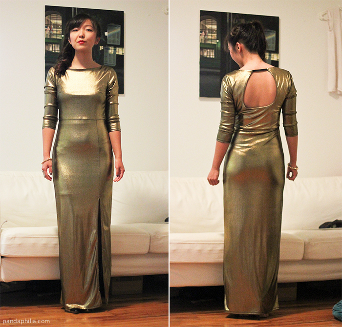 elegant gold gown open back