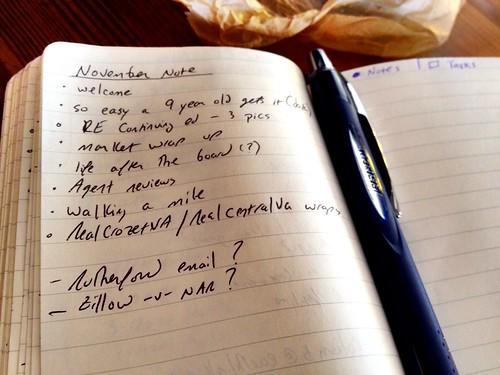 November's Note shaping up