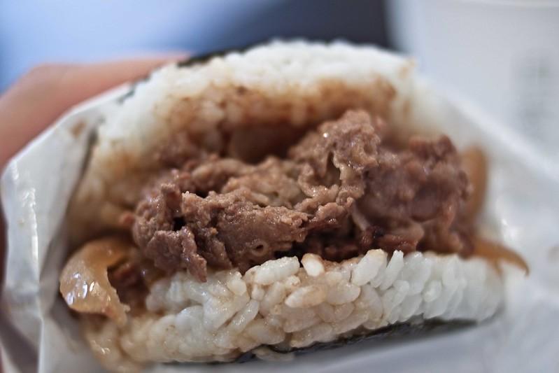 Hamburguesa de arroz con ternera.