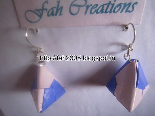Handmade Jewelry - Origami Paper Triangle Earrings (2) by fah2305