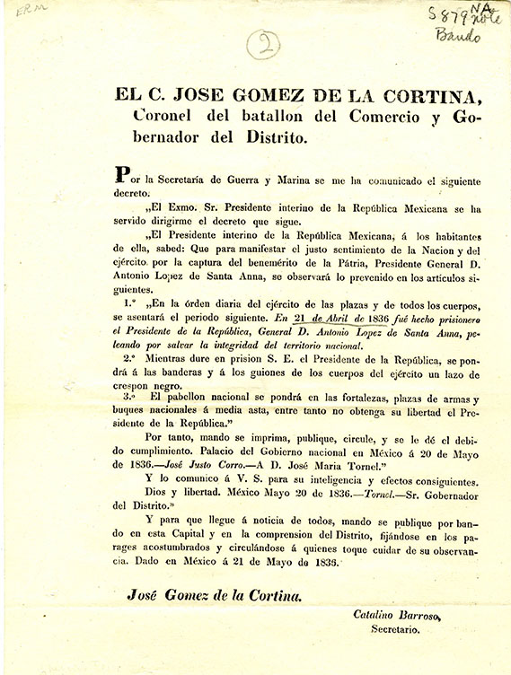 Broadside, decree from Jose Gomez de la Cortina, following Santa Anna's capture, 1836