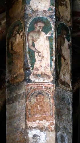 India - Ajanta Caves - Murals At Column - 33