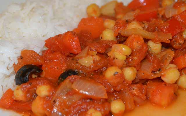 spicy chickpea stew served with rice