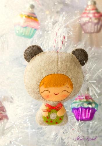 Bebé oso en Navidad