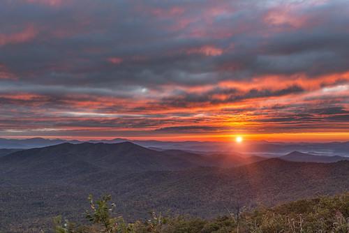 orange usa sun mountain mountains clouds sunrise nikon northcarolina rays appalachian fullframe nikkor overlook blueridgemountains blueridgeparkway d800 appalachianmountains brp poundingmilloverlook nikond800