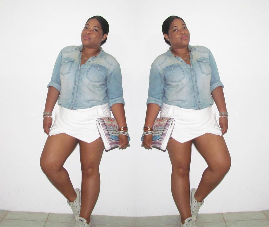 converse, sneakers, zara, skort, denim, denim shirt, how to style skorts, style, fashion, blog, style co, parfois, blog