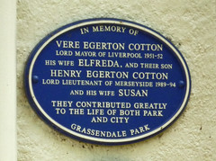 Photo of Vere Egerton Cotton, Elfreda Egerton Cotton, and Henry Egerton Cotton blue plaque