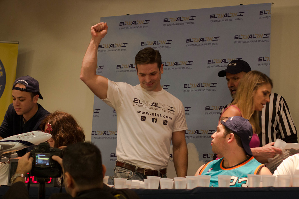 "Jamie ""The Bear"" McDonald at a hamantaschen eating contest in Manhattan."