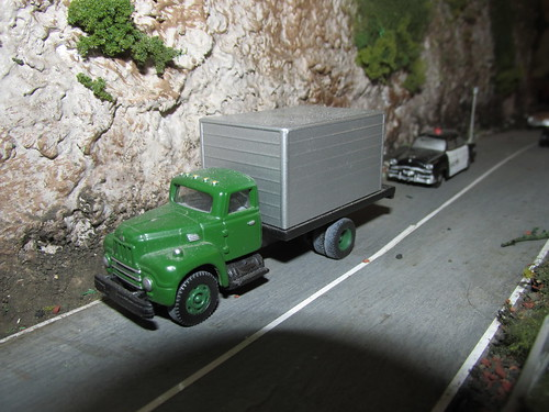 An H.O Scale model of an International Harvester Corp model R 190 conventional box truck from the 1950's and 60's era. by Eddie from Chicago