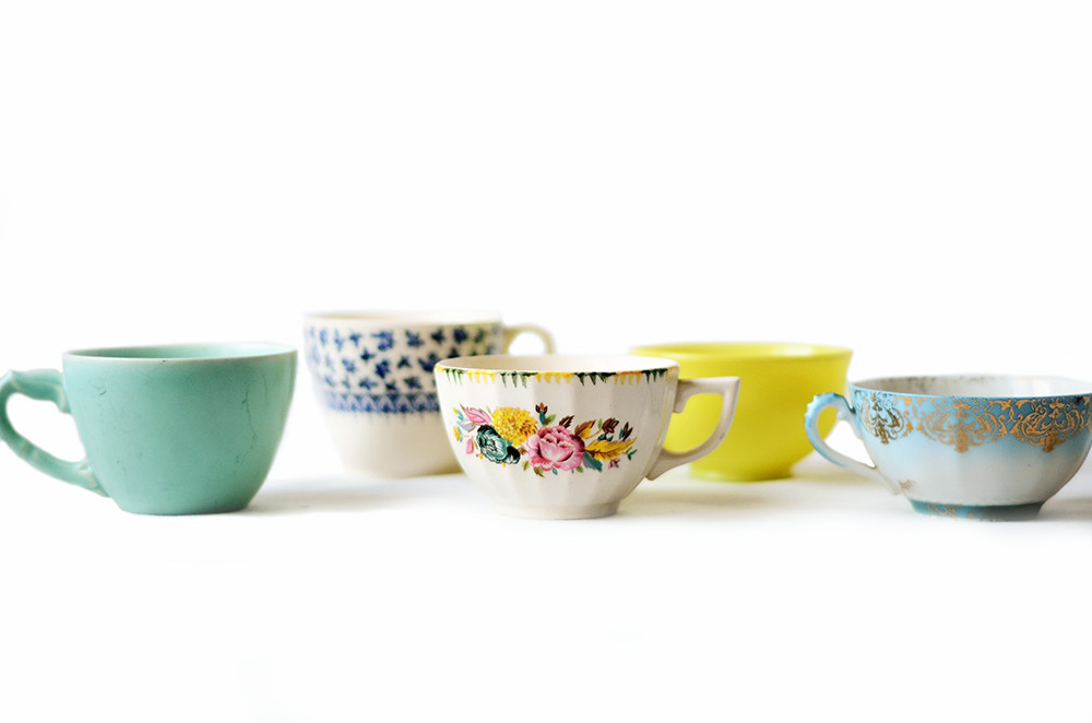 Five Mismatched Vintage Pastel Tea Cups
