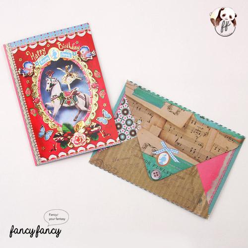 44.荷蘭製歡樂童話生日卡含信封(一份六組)-紅色