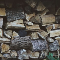 Something happily promising about even unevenly and imperfectly arranged stacks of wood.... Again, at my grandma's, latergram from Poland....