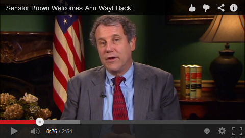 Watch and share this impresive video of Sen. Brown welcoming Ann Wayt back to work!