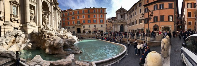 Panorama at the Trevi Fountain