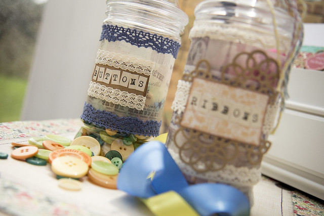 Upcyled craft storage jars by StickerKitten